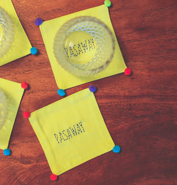 Manañita Coasters - Yellow Linen