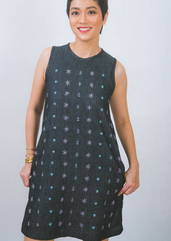 Hand-embroidered shift dress in black denim