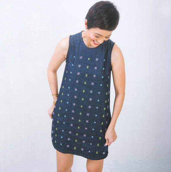 Hand-embroidered shift dress in denim