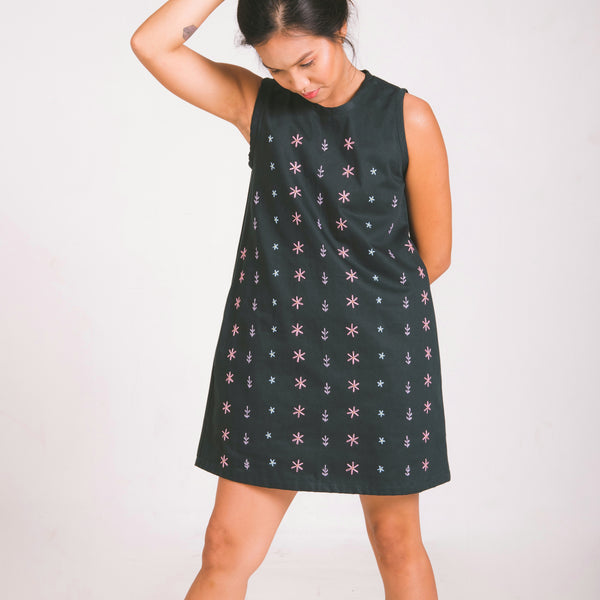 Daisy Dress - bottle green twill