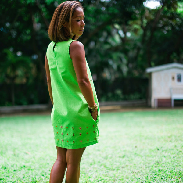 Daisy Dress - apple green linen
