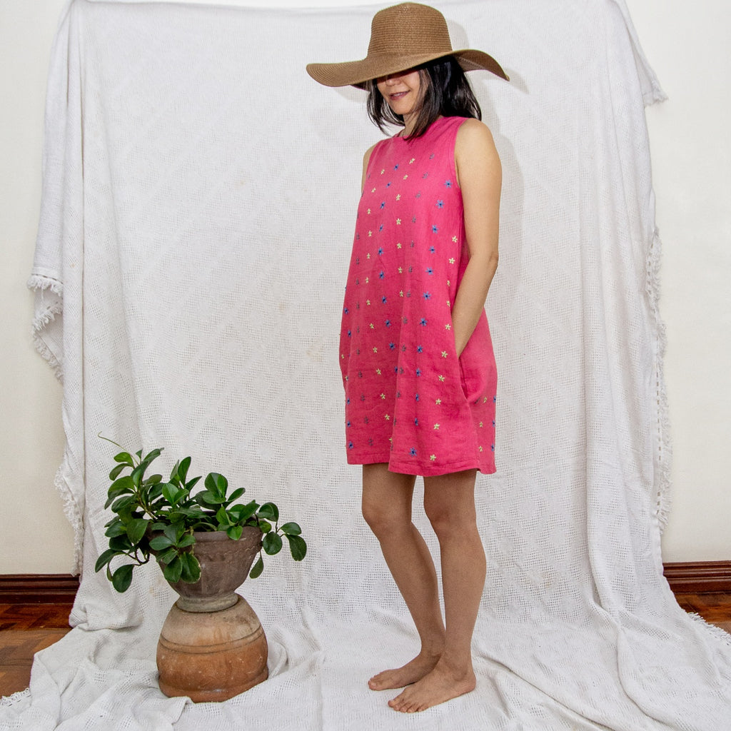 Daisy Dress - pink linen