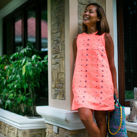 Daisy Dress - linen in Living Coral