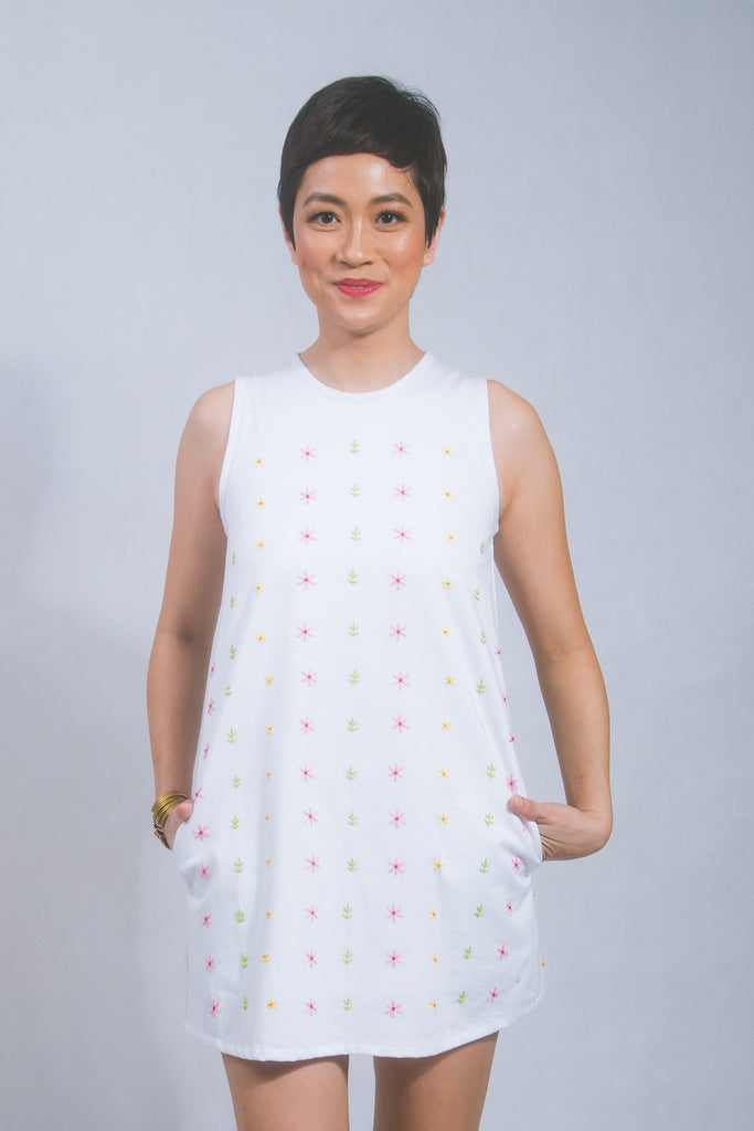 Hand-embroidered shift dress in white cotton twill