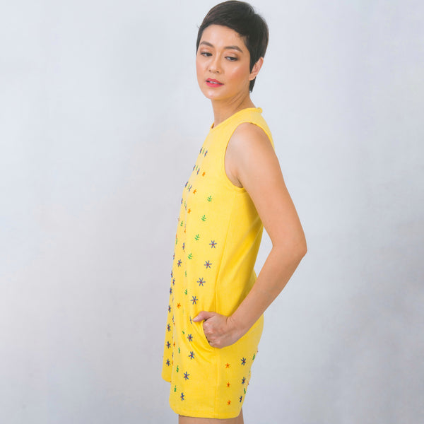 Hand-embroidered shift dress in yellow twill