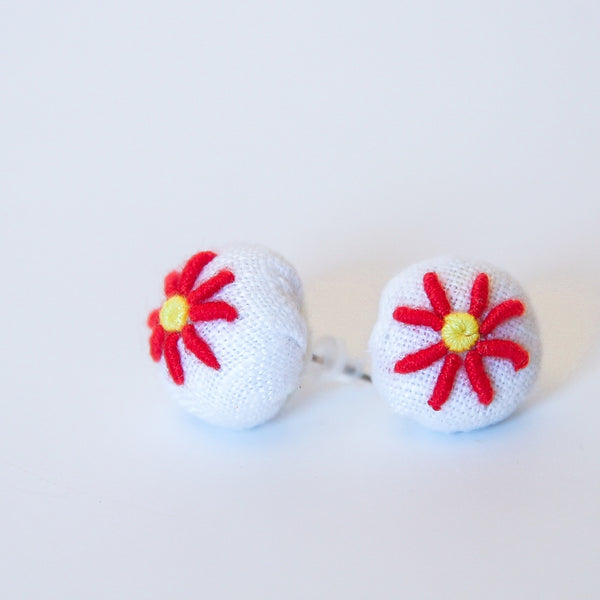 Sunflower Embroidered Earrings