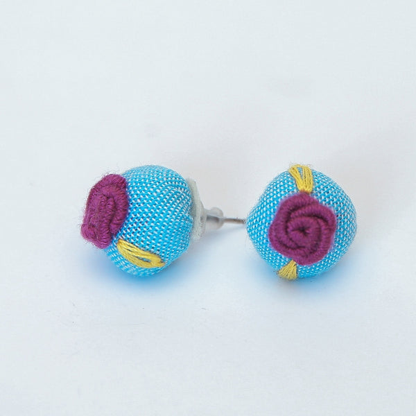 Rosette Embroidered Earrings