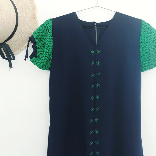 Ellie Dress - navy blue with green sleeves