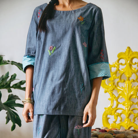 Garden - embroidered chambray tunic