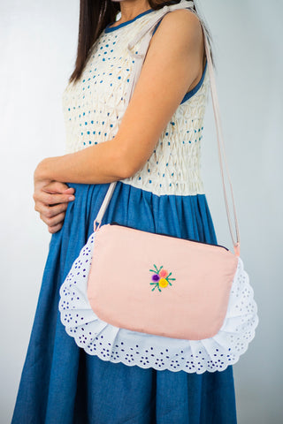 Lacey Embroidered Hand Bag - Peach