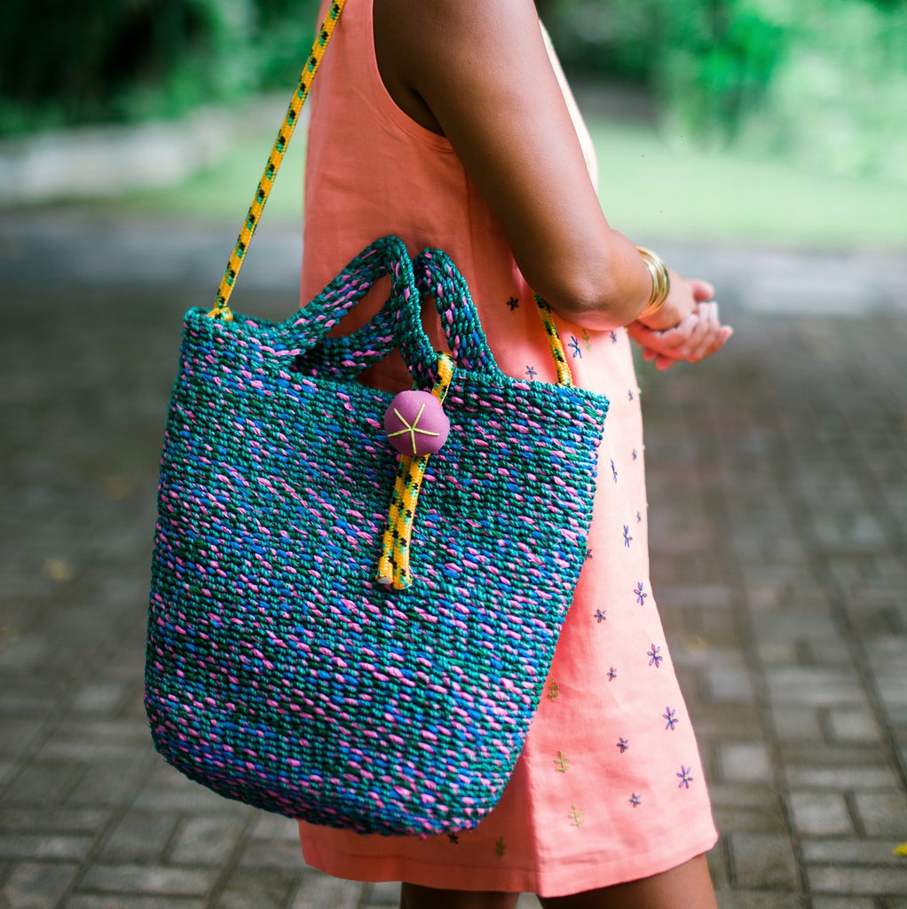Green Tropical Beach Bag with Strap