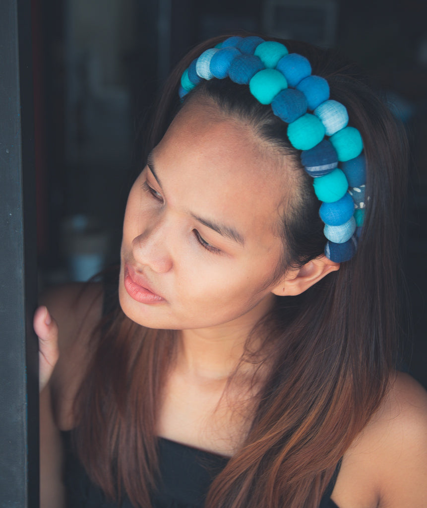 Lucky Buttons Headband - Blue