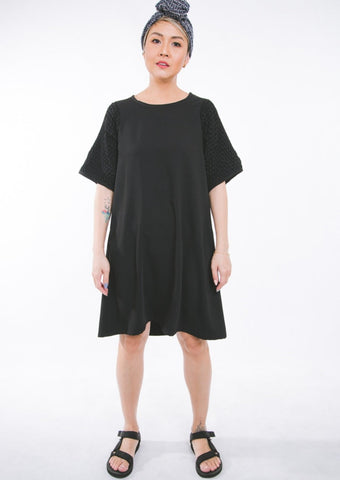 Honeycomb Dress - black cotton