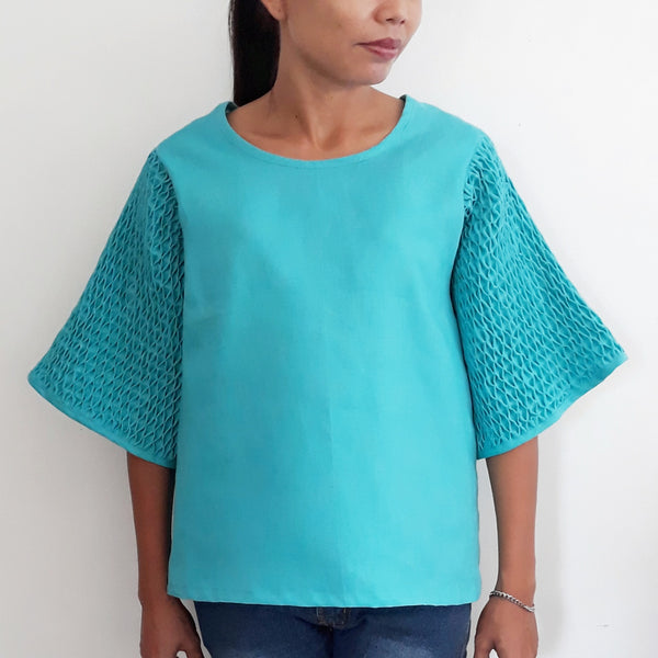 Honeycomb Blouse  - blue linen