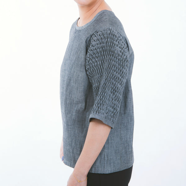 Honeycomb Blouse - gray