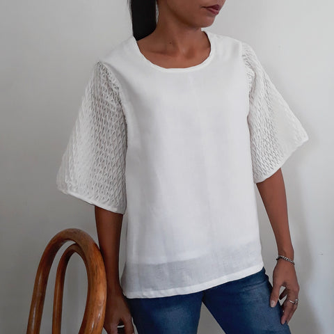 Honeycomb Blouse  - white linen