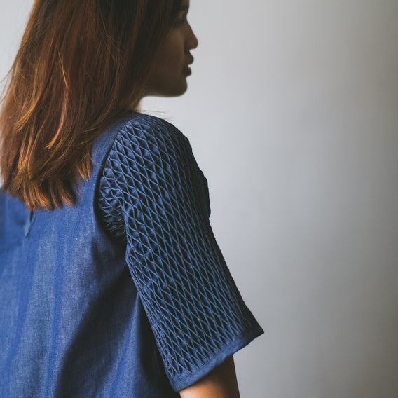 Honeycomb Blouse  - denim