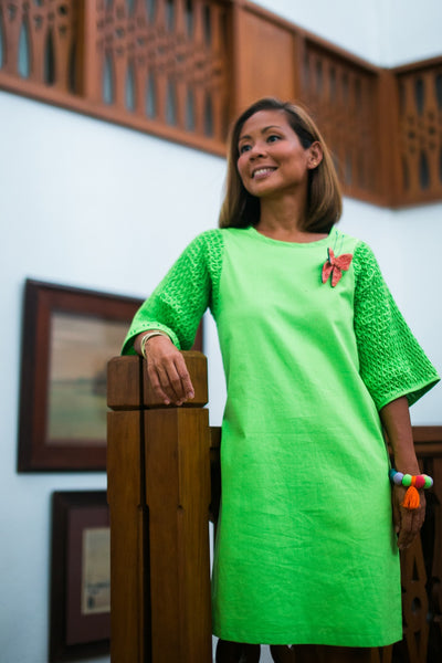 Honeycomb Dress - apple green linen