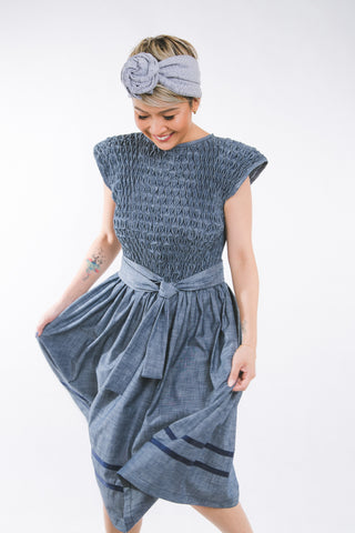 Inez Dress - blue chambray