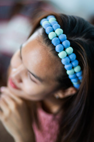 Lucky Buttons Headband, Slim - Blue
