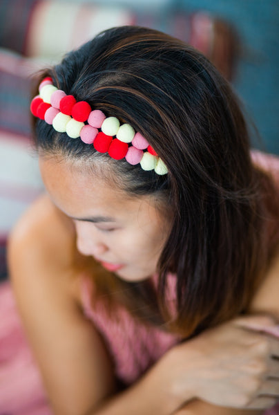 Lucky Buttons Headband, Slim - Red