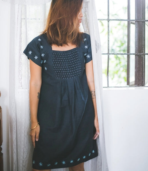 Lian Dress - navy blue linen