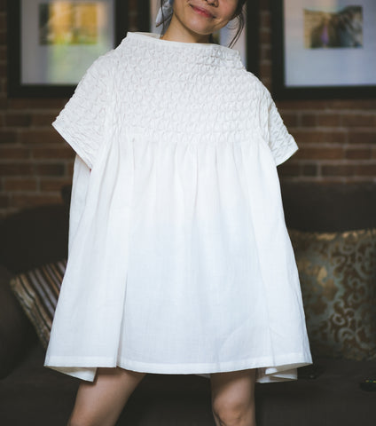 Lily Mock Turtleneck Tunic - white linen