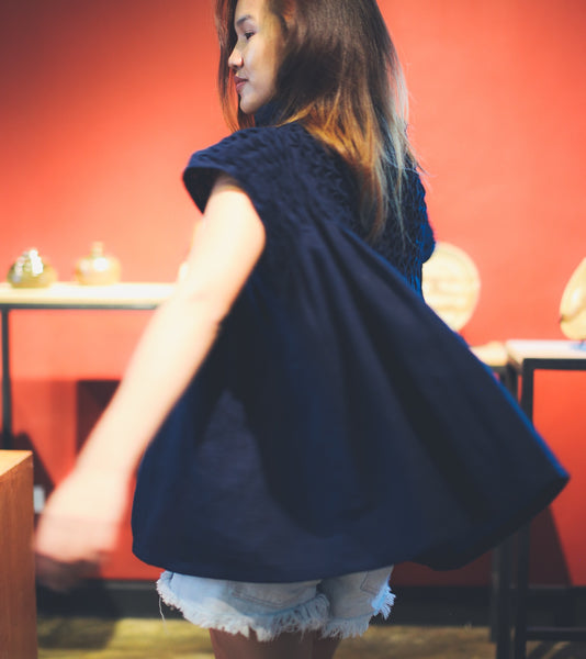 Lily Mock Turtleneck Tunic - navy blue linen