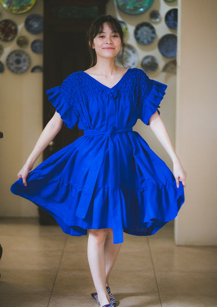 Linda Hand-Smocked Tent Dress - royal blue