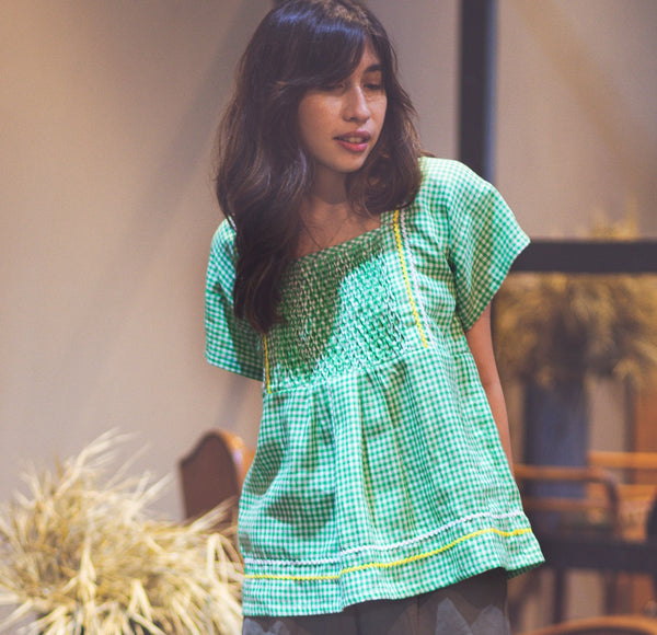 Lorelei Blouse - Green Gingham