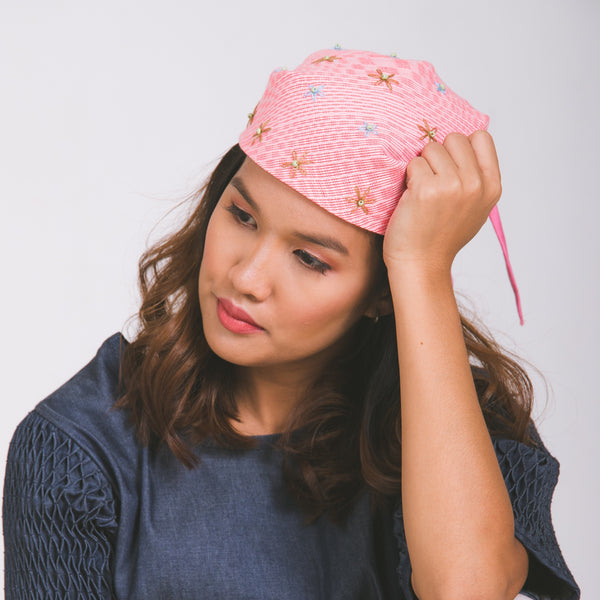 Lucille Kerchief - pink handwoven inabel