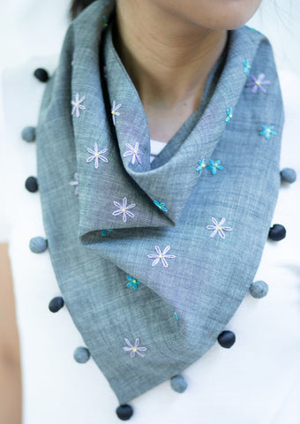 Lucille Kerchief - gray chambray