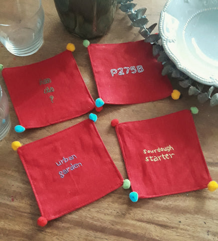Manañita Coasters - Red Linen