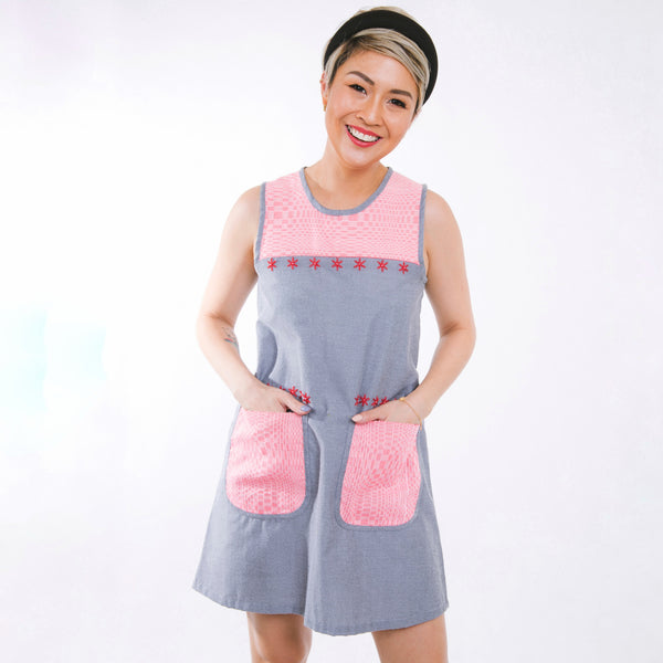 Mary Inabel Shift Dress - gray with pink
