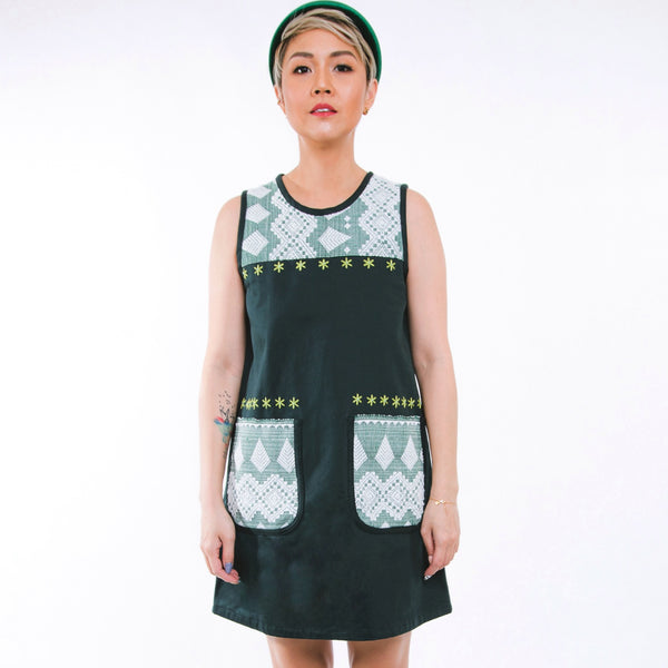 Mary Inabel Shift Dress - bottle green