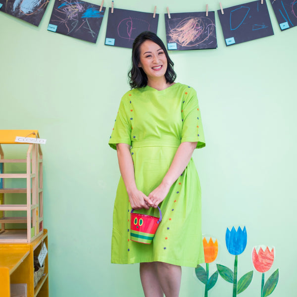 Mila - comfy dress in bright green