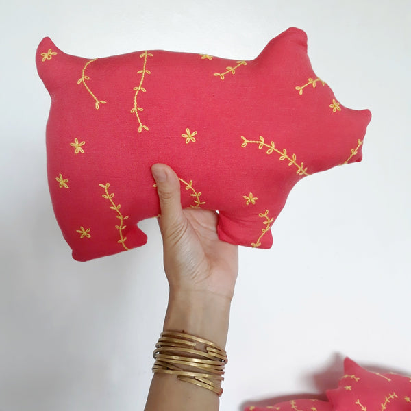 Embroidered Pig Decorative Pillow