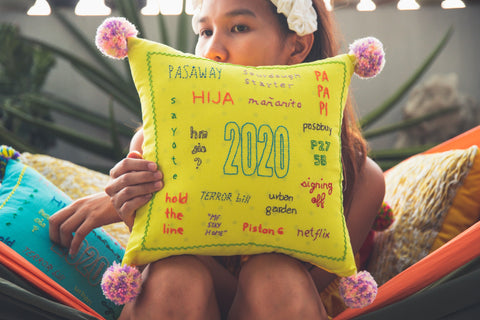 2020 Embroidered Throw Pillow - Yellow