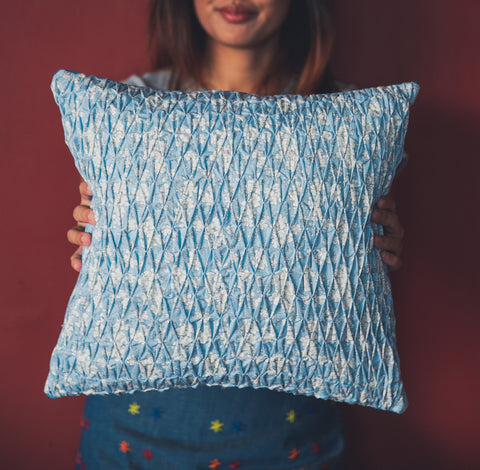 Smocked Throw Pillow - Blue