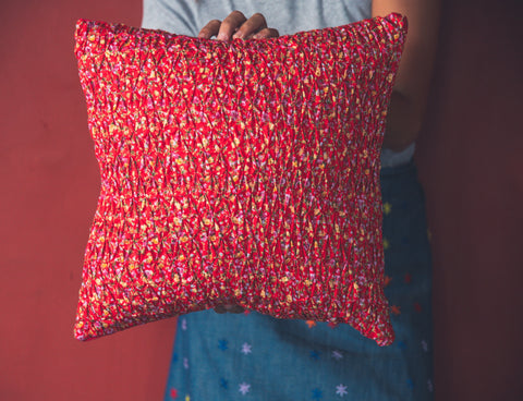 Smocked Throw Pillow - Red