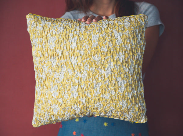 Smocked Throw Pillow - Yellow