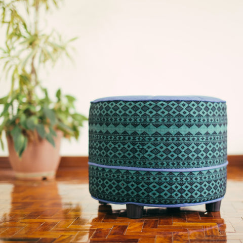 Pouf - Denim & Green Handwoven Textile