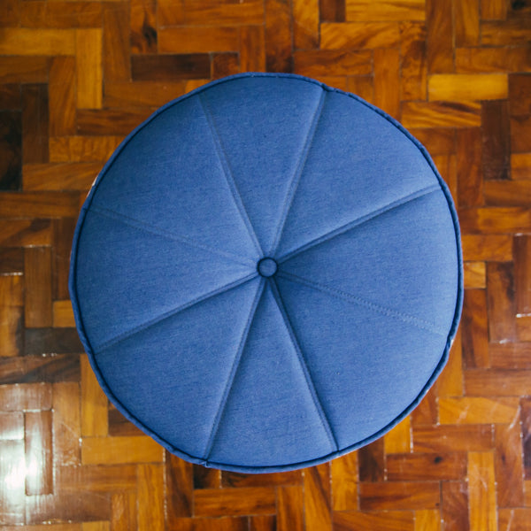 Pouf - Denim & Brown Handwoven Textile