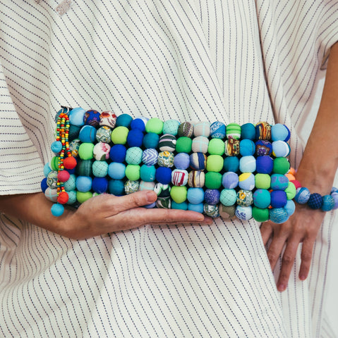 Reina Clutch in Ocean Blue