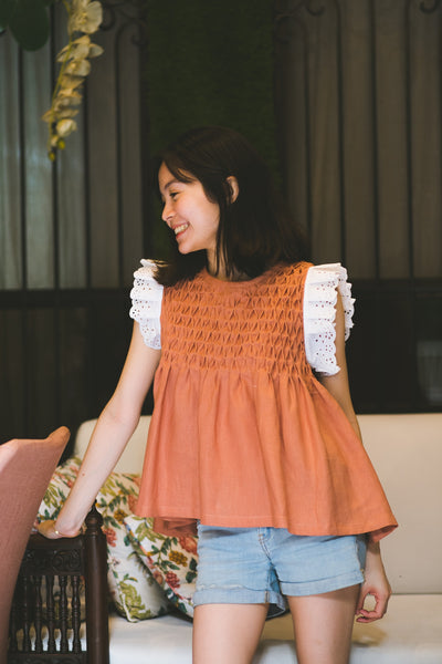 Rita Blouse  - rust-brown linen