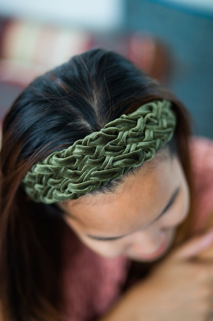 Emilia Hand-smocked Headband - Forest Green
