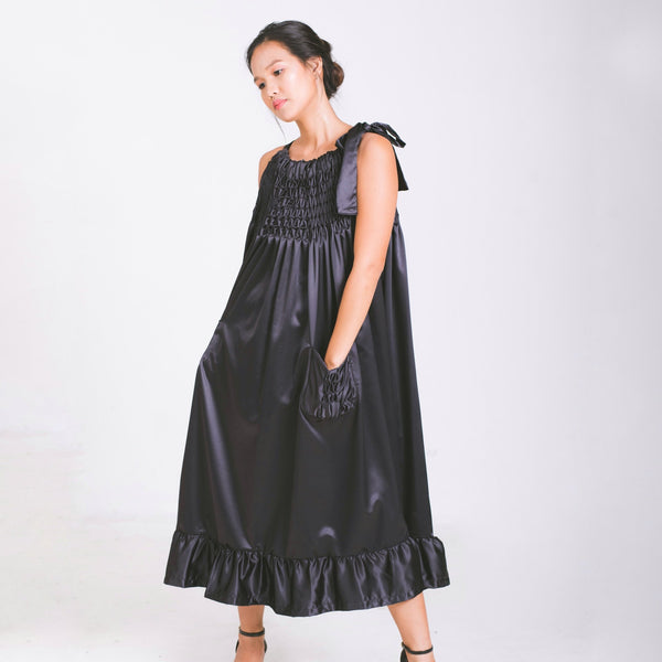 Roxy Halter Dress with Ruffled Hem - black charmeuse