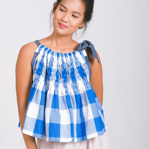 Roxy Halter Top  - blue and white checkered cotton