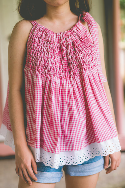 Roxy Halter Top with Lace Trim  - Pink Gingham