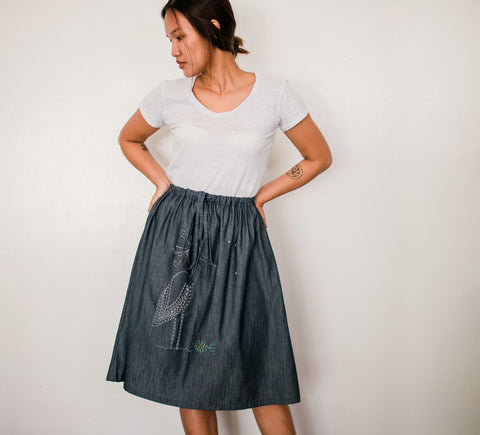 Little Egret Denim Drawstring Skirt no. 4